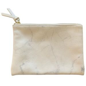 White Marble Cosmetic/Pencil Case With Gold Zipper